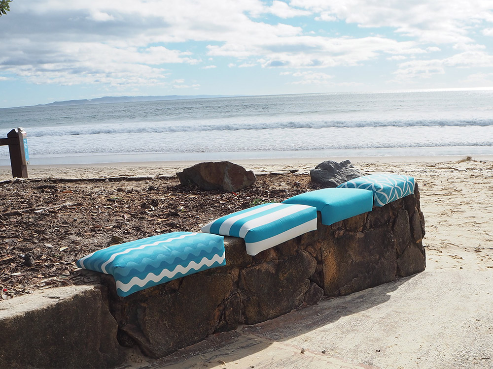 SmartArse Seats turquise designs on the beach
